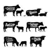 Milk product logo. Cow and calf silhouettes royalty free stock photos