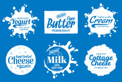 Milk product logo. Milk, yogurt or cream splashes. Vector milk product logo. Milk, yogurt, cream, cheese icons and splashes with sample text. Dairy product icons Stock Photo