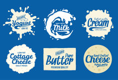 Milk product logo. Milk, yogurt or cream splashes. Vector milk product logo. Milk, yogurt, cream, cheese icons and splashes with sample text. Dairy product icons Royalty Free Stock Photos
