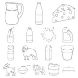 Milk product outline icons in set collection for design.Milk and food vector symbol stock web illustration. Milk product outline icons in set collection for Stock Photography