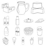 Milk product outline icons in set collection for design.Milk and food vector symbol stock web illustration. Milk product outline icons in set collection for Stock Photo