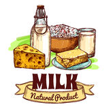 Milk Product Sketch Concept Royalty Free Stock Image