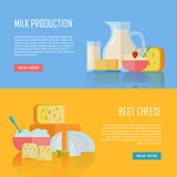 Milk Production and Best Cheese Conceptual Banners. Set of traditional dairy products as milk and cheese. For farm, grocery store, cafe, diet and food delivery Royalty Free Stock Photos