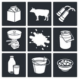 Milk production Icons set Stock Images