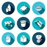 Milk production Icons set Stock Photos