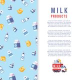 Milk production poster template - farm dairy banner design. Vector illustration Stock Photo