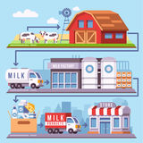 Milk production processing from a dairy farm through factory to consumer vector illustration stock illustration