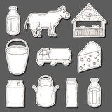 Milk production stickers Royalty Free Stock Photos