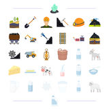 Milk products, animals and other web icon in cartoon style. Stock Images