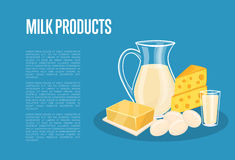 Milk products banner with dairy composition Royalty Free Stock Photography