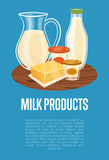 Milk products banner with dairy composition Stock Images