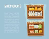Milk products banner with supermarket shelves Stock Image