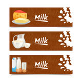 Milk Products Banners Stock Photography