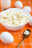 Milk products and eggs. Milk products: cottage cheese, milk and eggs Stock Image