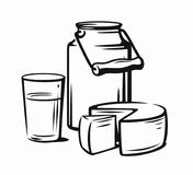 Milk products with glass. Country style vector sketch Royalty Free Stock Photography