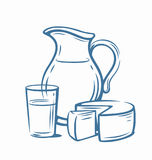 Milk products with glass. Country style vector sketch Royalty Free Stock Photos