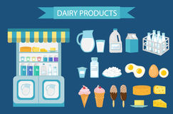 Milk products icon set, flat style.   isolated on white background.  and cheese showcase, store shelf. Farm foods Royalty Free Stock Images