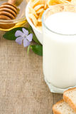 Milk products isolated on wood Stock Images