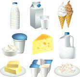 Milk products set Royalty Free Stock Images