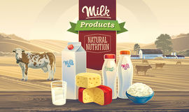 Milk products and rural landscape with cows. Royalty Free Stock Photos