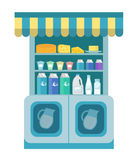 Milk products showcase, dairy shelf in the store. Supermarket,  department. Cheese and . Vector illustration Royalty Free Stock Photography