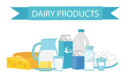 Milk products still-life. Flat style. Dairy  isolated on white background.  and cheese. Farm . Vector illustration Stock Photos