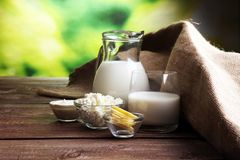 Milk products. tasty healthy dairy products on a table. Royalty Free Stock Photos