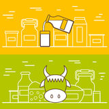 Milk products vector concept with flat objects Stock Images