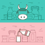 Milk products vector concept with flat objects Royalty Free Stock Photography