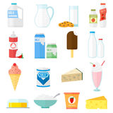 Milk products vector set. Royalty Free Stock Photos