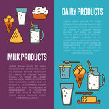 Milk products vertical flyers set Royalty Free Stock Image