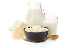 Milk products on white Stock Images