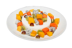 Milk pudding dessert with fruit salad. Royalty Free Stock Photography