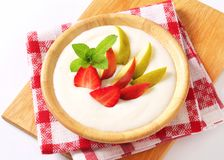 Milk pudding with fruit Royalty Free Stock Images