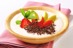 Milk pudding with fruit Stock Photography