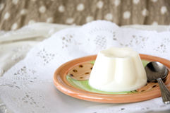 Milk pudding on plate Royalty Free Stock Images