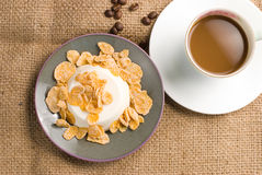 Milk pudding with sweet crisps and coffee Stock Image