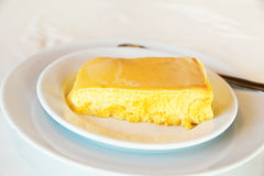 Milk pudding on white plate. Royalty Free Stock Image