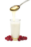 Milk, raspberries, honey - the cure for the common cold Royalty Free Stock Photo