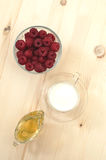 Milk, raspberries, honey - the cure for the common cold Stock Photo