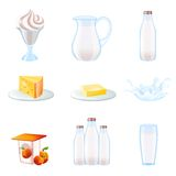 Milk realistic icons set Royalty Free Stock Photos