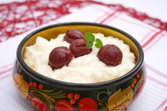 Milk rice with cherries. Some fresh milk rice with cherries Royalty Free Stock Image