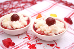 Milk rice with cherries Royalty Free Stock Photography