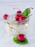 Milk rice with cherries Royalty Free Stock Images