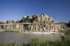 Milk River Alberta Badlands Royaltyfri Foto