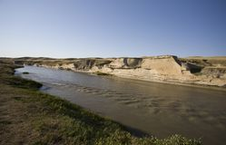 Milk River Alberta Badlands Arkivbilder
