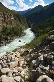 Milk river in the mountains Royalty Free Stock Images
