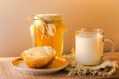 Milk roll honey bread food vintage Royalty Free Stock Photo