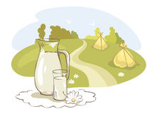 Milk and rural meadow Stock Photography