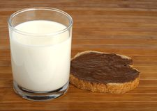Milk and a sandwich Stock Photos